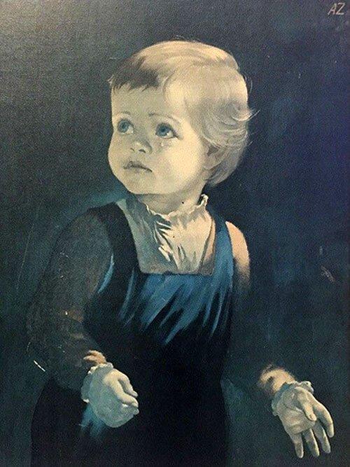 Репродукция картины Анны Зинкайзен «Плачущий мальчик»